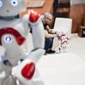 Aldebaran présente Pepper son robot humanoïde évolutif. Cappable d'interagir, de jouer et de créer ses propores histoires. SALON INNOROBO 2015 CITE DES CONGRES CITE INTERNATIONALE, LYON.